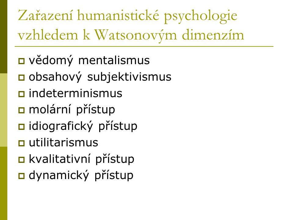 Zařazení humanistické psychologie vzhledem k Watsonovým dimenzím