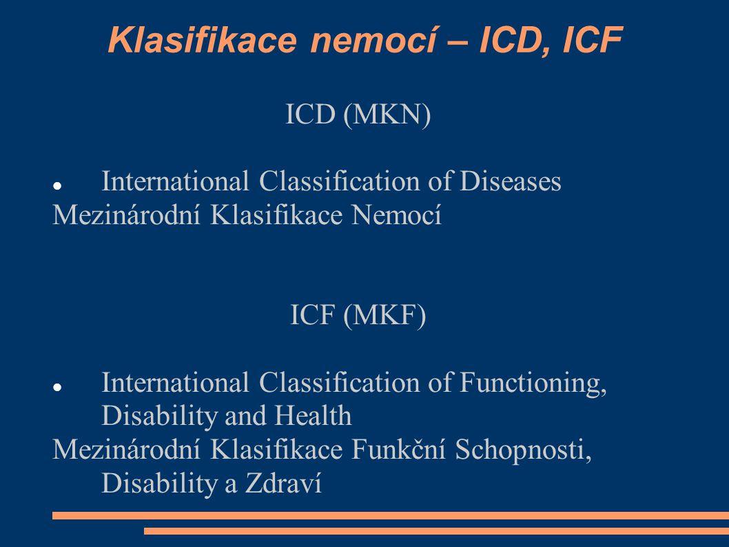 Klasifikace nemocí – ICD, ICF
