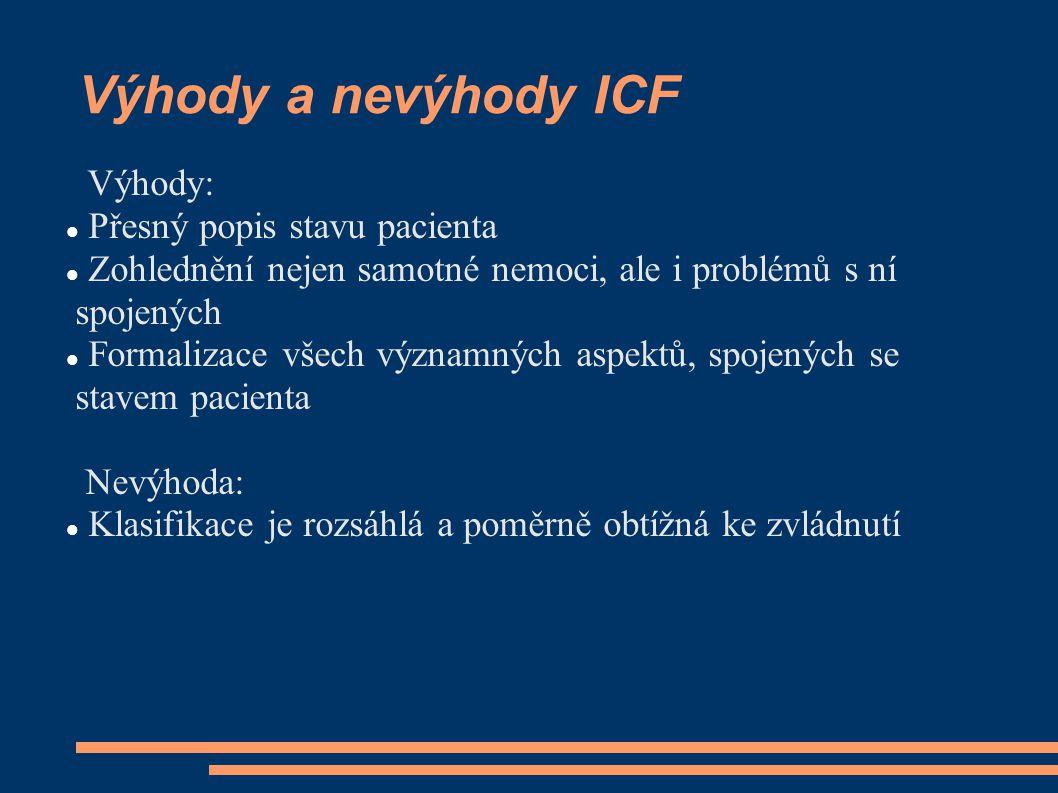Výhody a nevýhody ICF Výhody: Přesný popis stavu pacienta