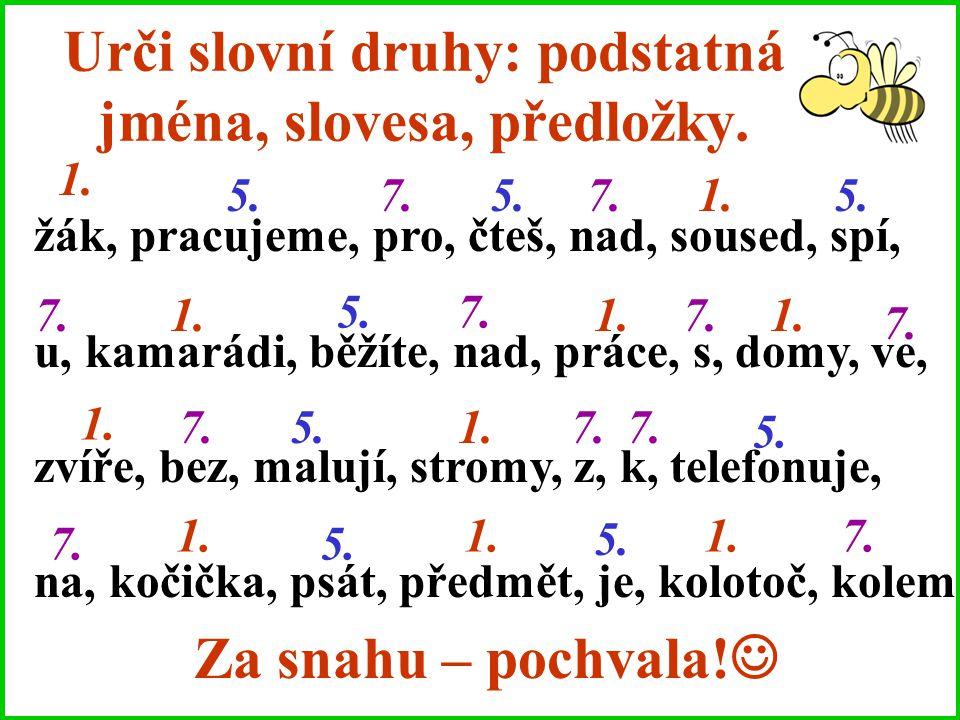 Urči slovní druhy: podstatná jména, slovesa, předložky.