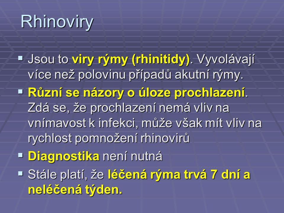 Rhinoviry Jsou to viry rýmy (rhinitidy). Vyvolávají více než polovinu případů akutní rýmy.