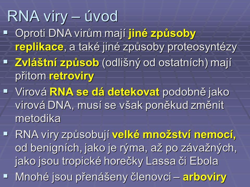 RNA viry – úvod Oproti DNA virům mají jiné způsoby replikace, a také jiné způsoby proteosyntézy.