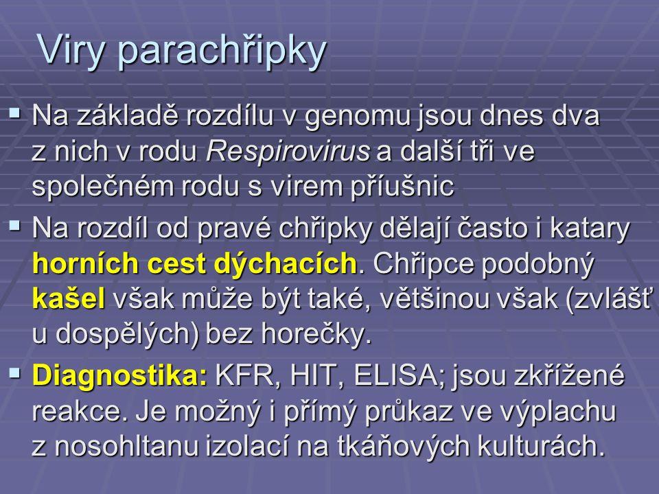 Viry parachřipky Na základě rozdílu v genomu jsou dnes dva z nich v rodu Respirovirus a další tři ve společném rodu s virem příušnic.