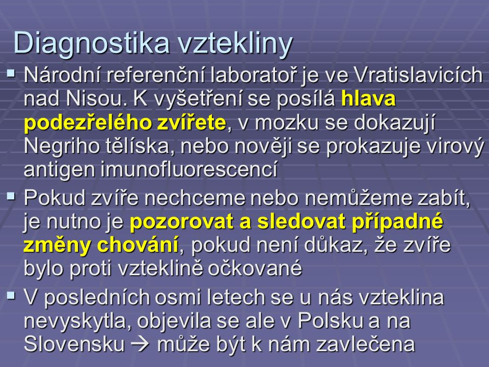 Diagnostika vztekliny