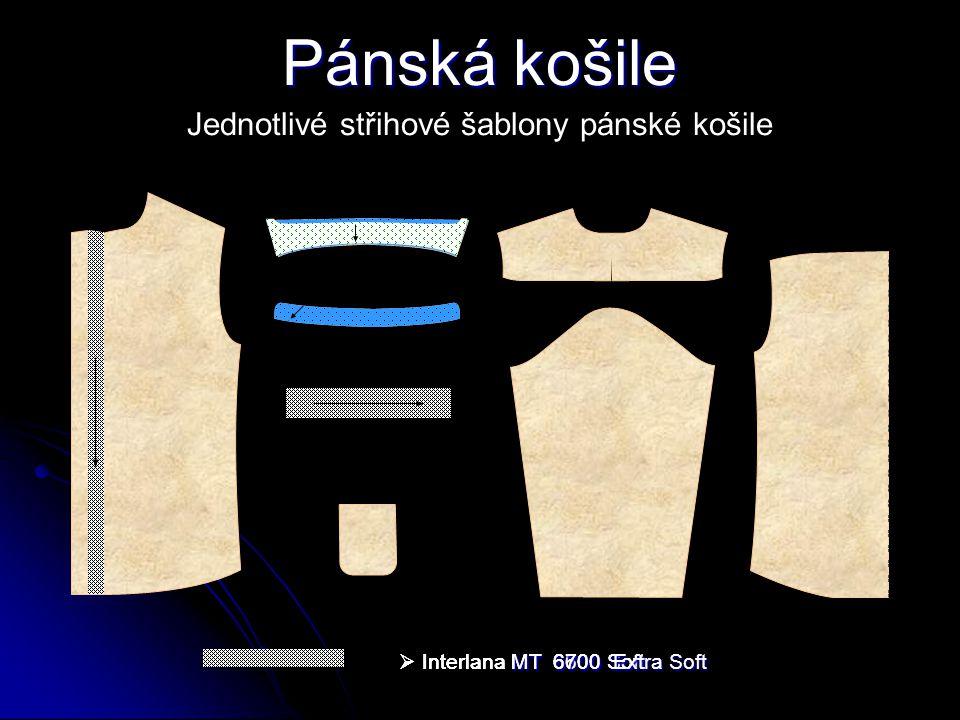 Jednotlivé střihové šablony pánské košile