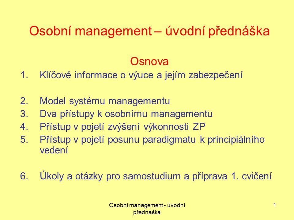 Osobní management – úvodní přednáška