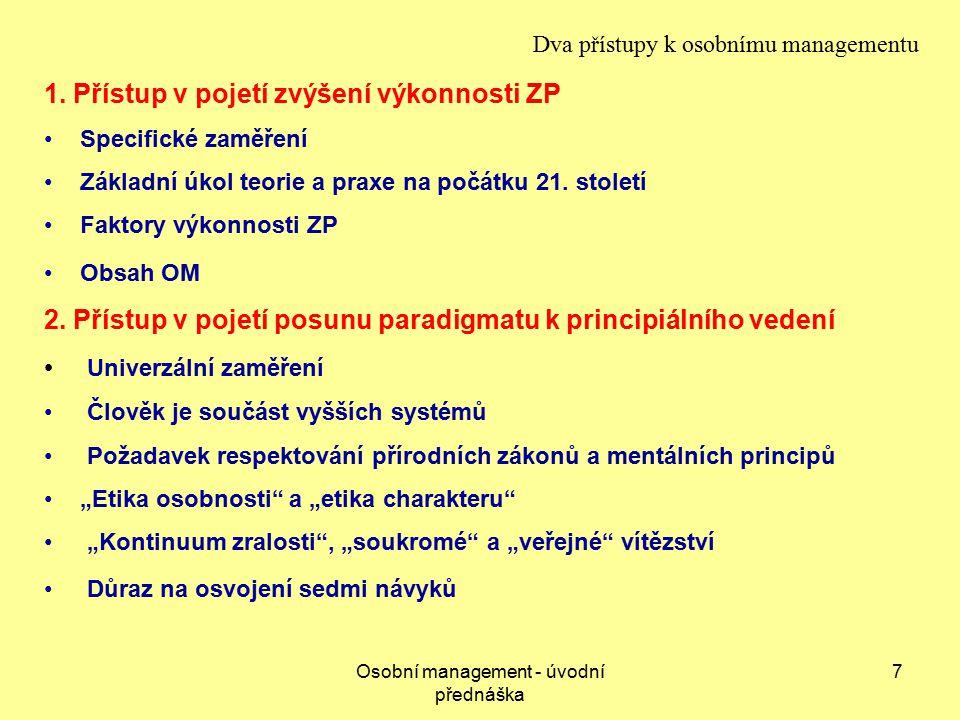 Osobní management - úvodní přednáška