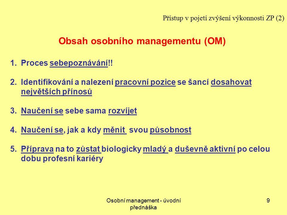 Obsah osobního managementu (OM)