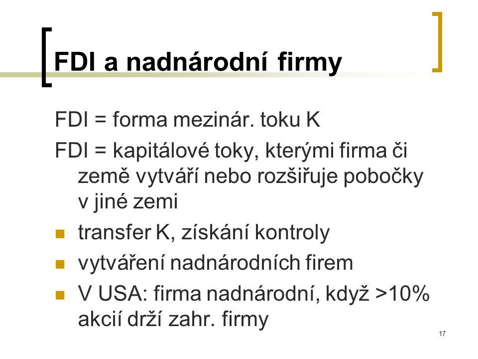 FDI a nadnárodní firmy FDI = forma mezinár. toku K