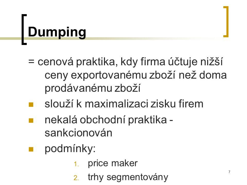 Dumping = cenová praktika, kdy firma účtuje nižší ceny exportovanému zboží než doma prodávanému zboží.