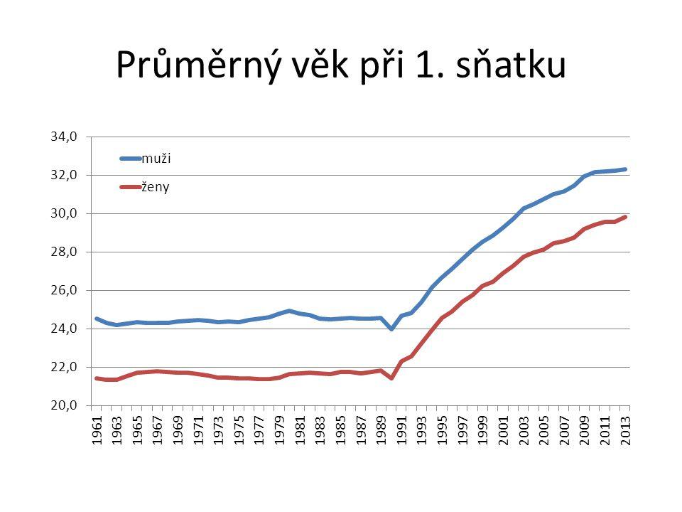 Průměrný věk při 1. sňatku
