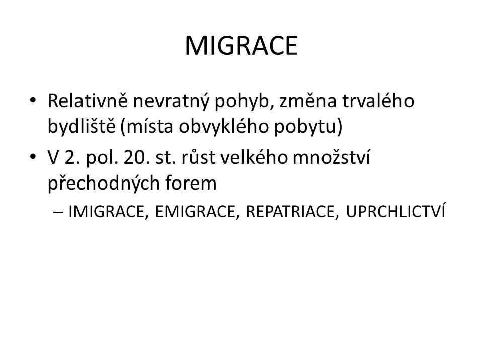 MIGRACE Relativně nevratný pohyb, změna trvalého bydliště (místa obvyklého pobytu) V 2. pol. 20. st. růst velkého množství přechodných forem.