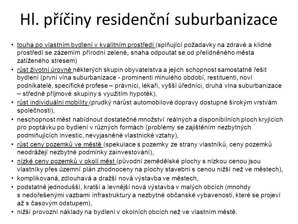Hl. příčiny residenční suburbanizace