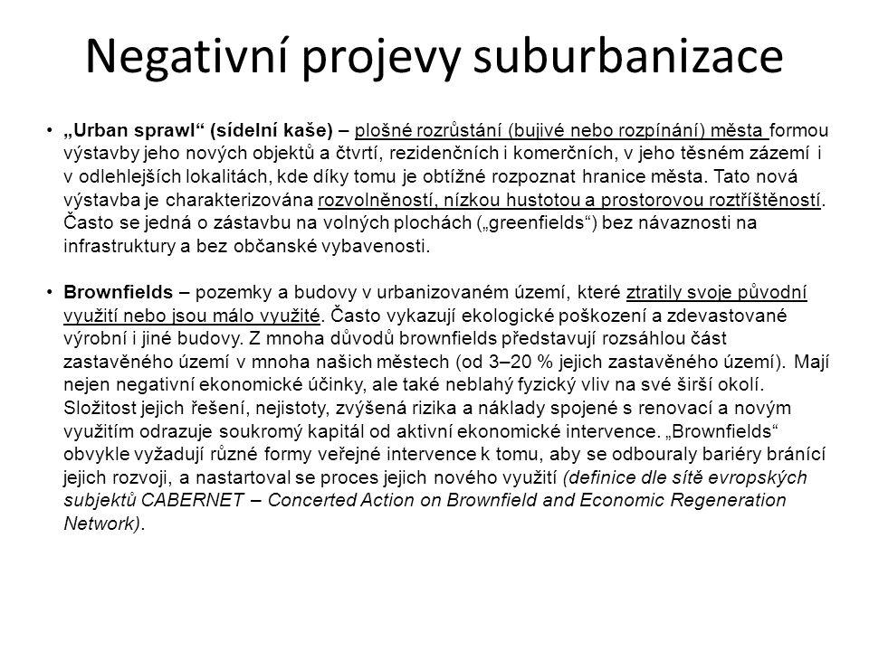 Negativní projevy suburbanizace