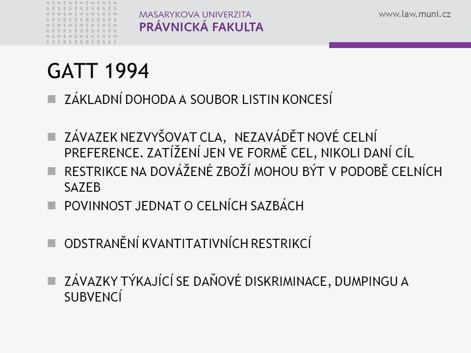 GATT 1994 ZÁKLADNÍ DOHODA A SOUBOR LISTIN KONCESÍ