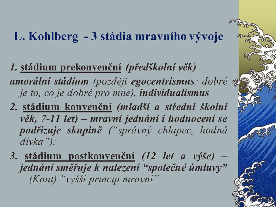 L. Kohlberg - 3 stádia mravního vývoje