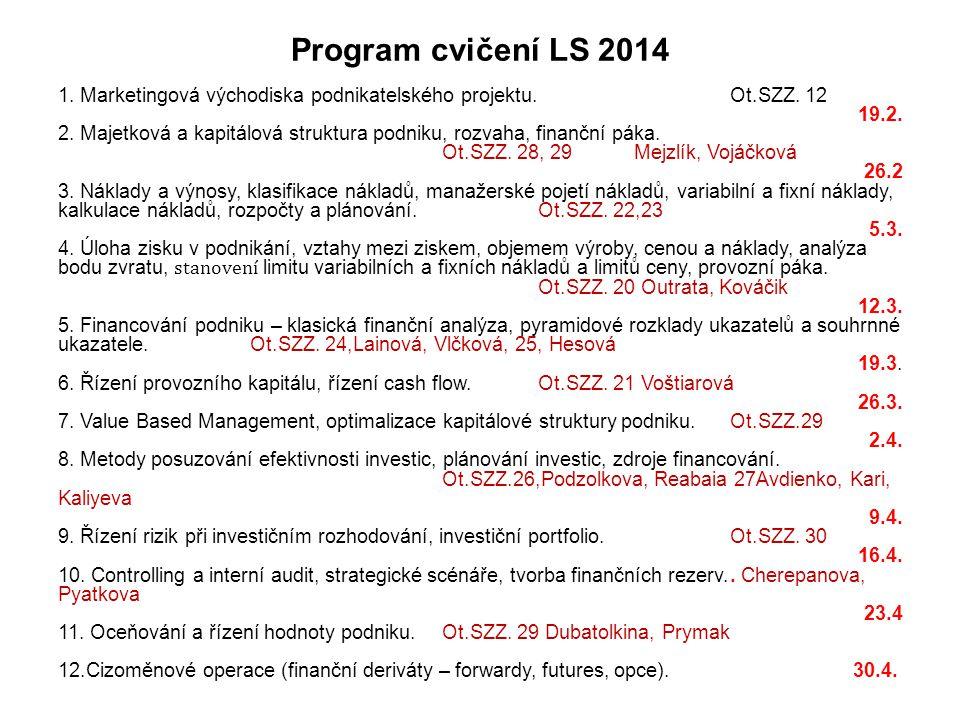 Program cvičení LS 2014