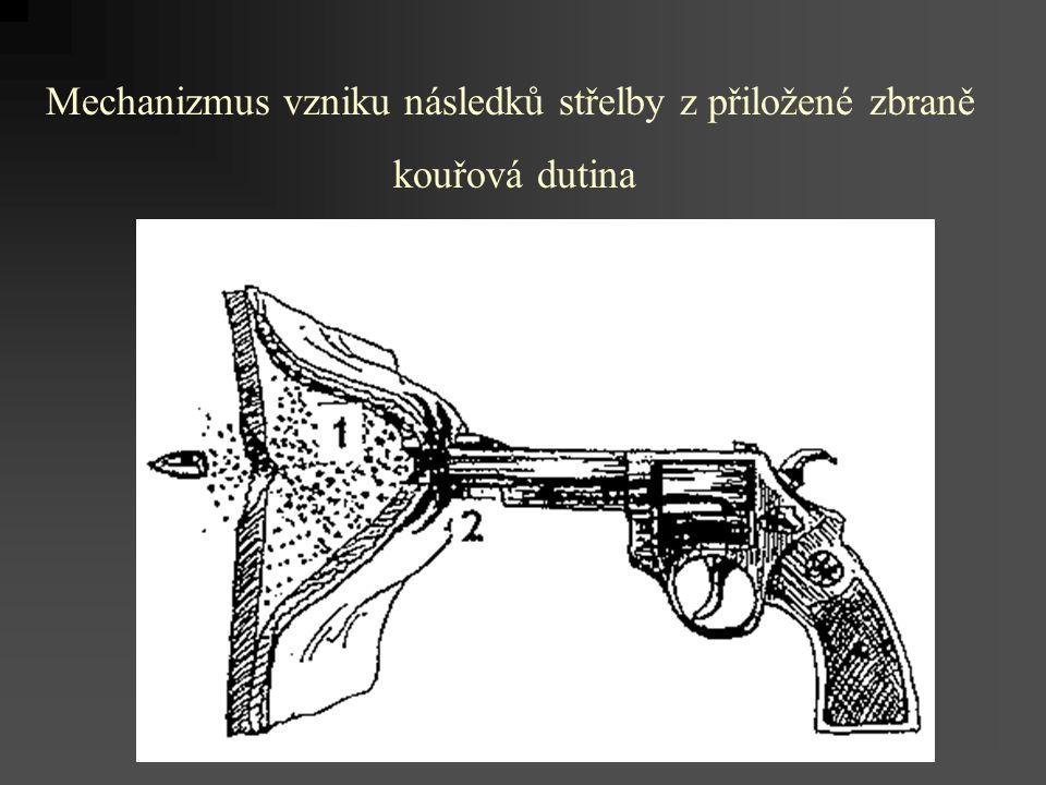 Mechanizmus vzniku následků střelby z přiložené zbraně