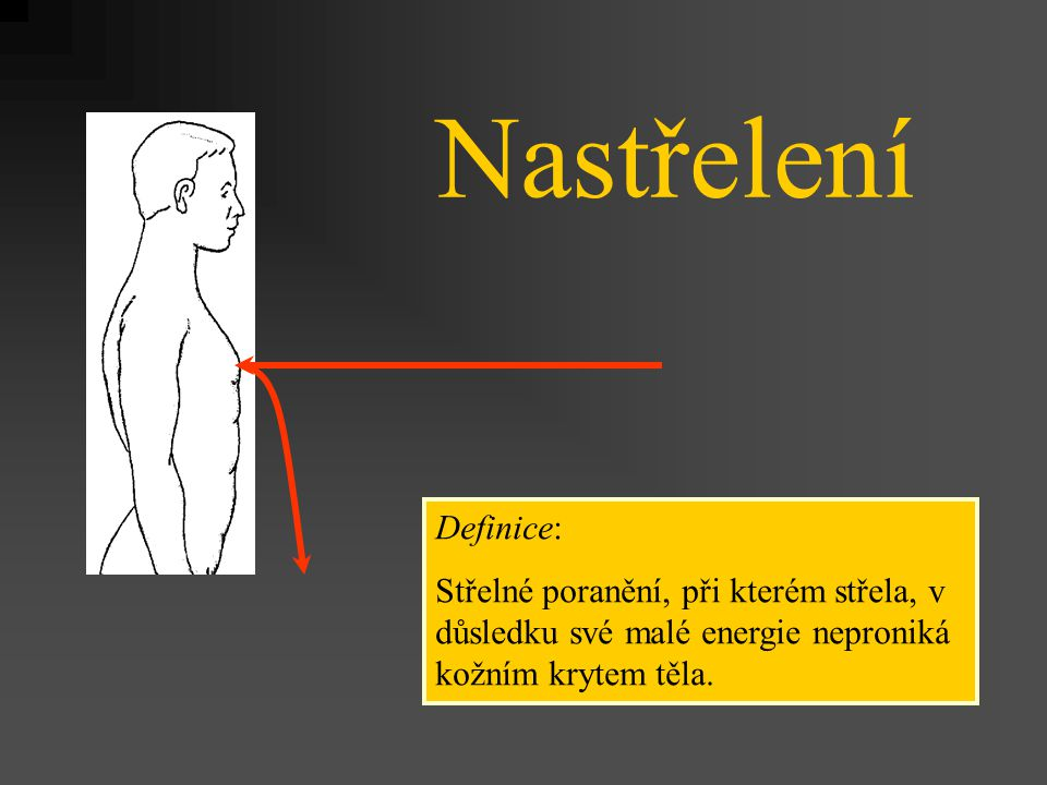 Nastřelení Definice: Střelné poranění, při kterém střela, v důsledku své malé energie neproniká kožním krytem těla.