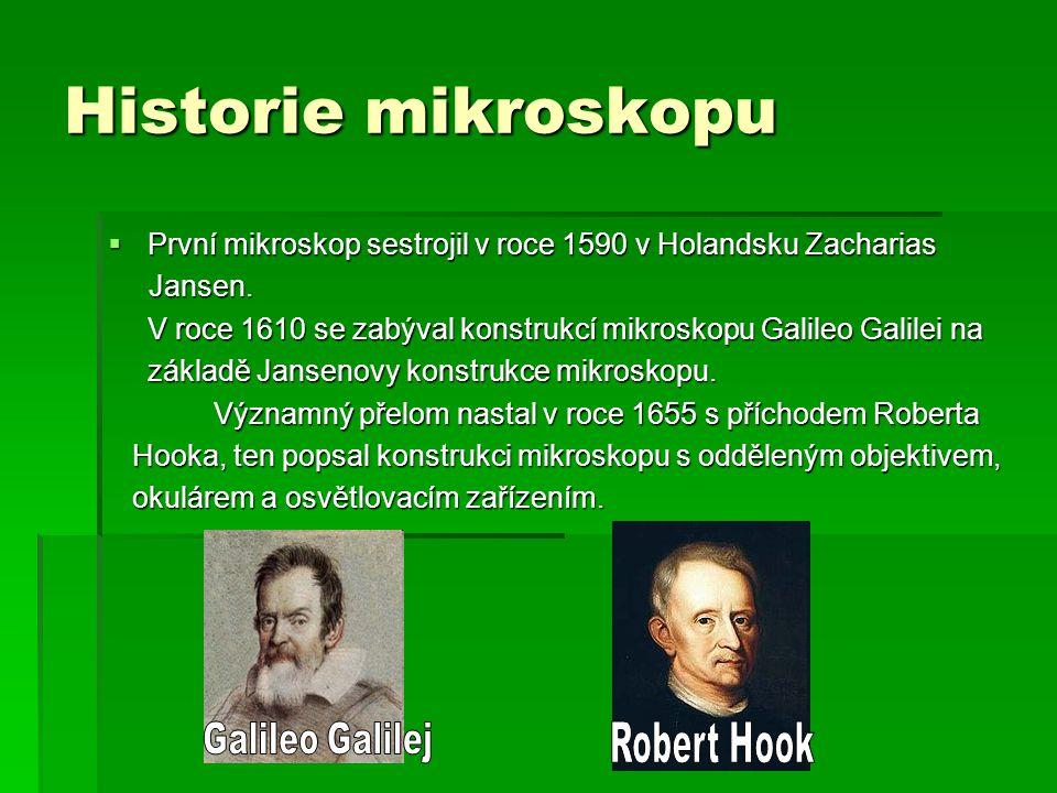 Historie mikroskopu První mikroskop sestrojil v roce 1590 v Holandsku Zacharias. Jansen.