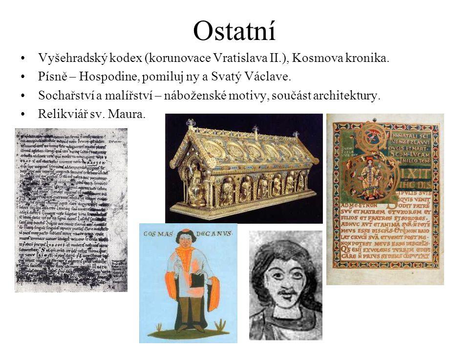 Ostatní Vyšehradský kodex (korunovace Vratislava II.), Kosmova kronika. Písně – Hospodine, pomiluj ny a Svatý Václave.