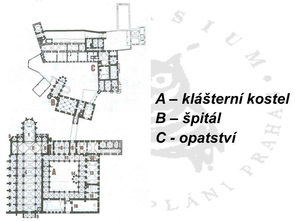 A – klášterní kostel B – špitál C - opatství
