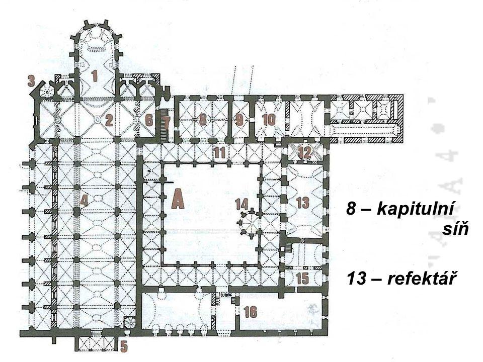 8 – kapitulní síň 13 – refektář