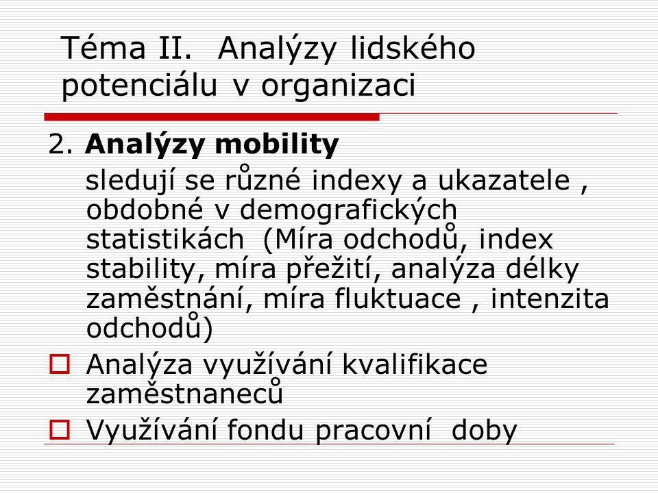 Téma II. Analýzy lidského potenciálu v organizaci