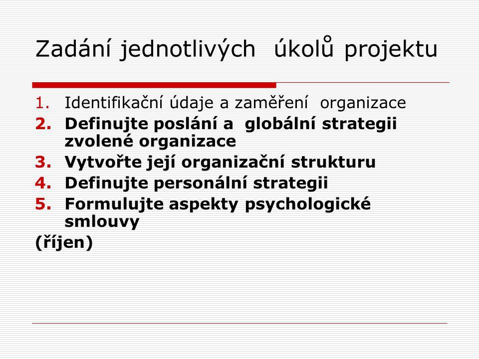 Zadání jednotlivých úkolů projektu