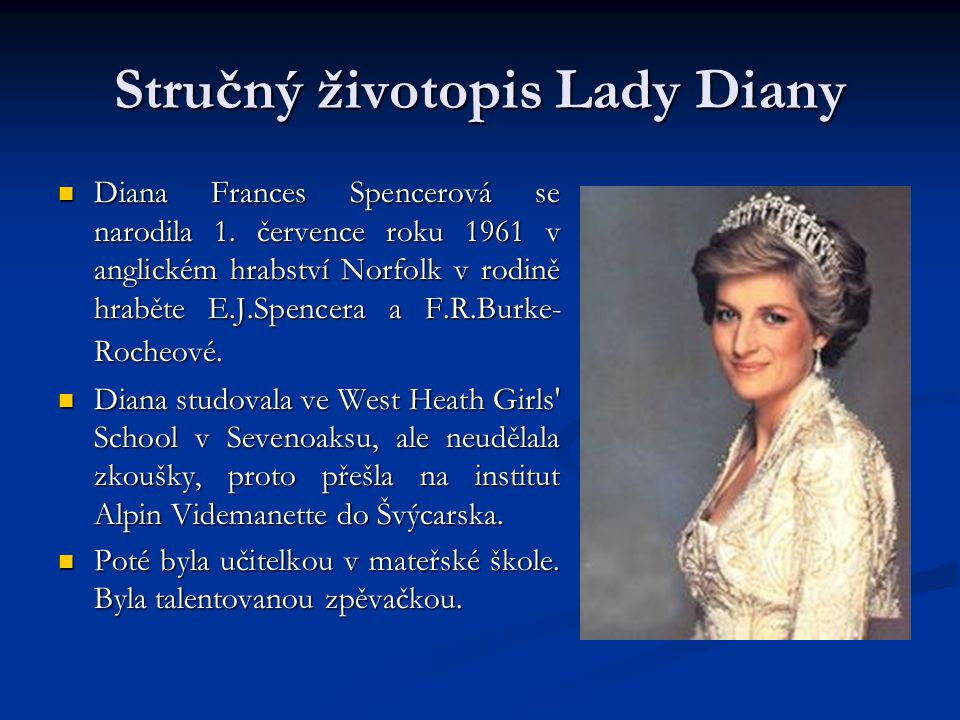 Stručný životopis Lady Diany