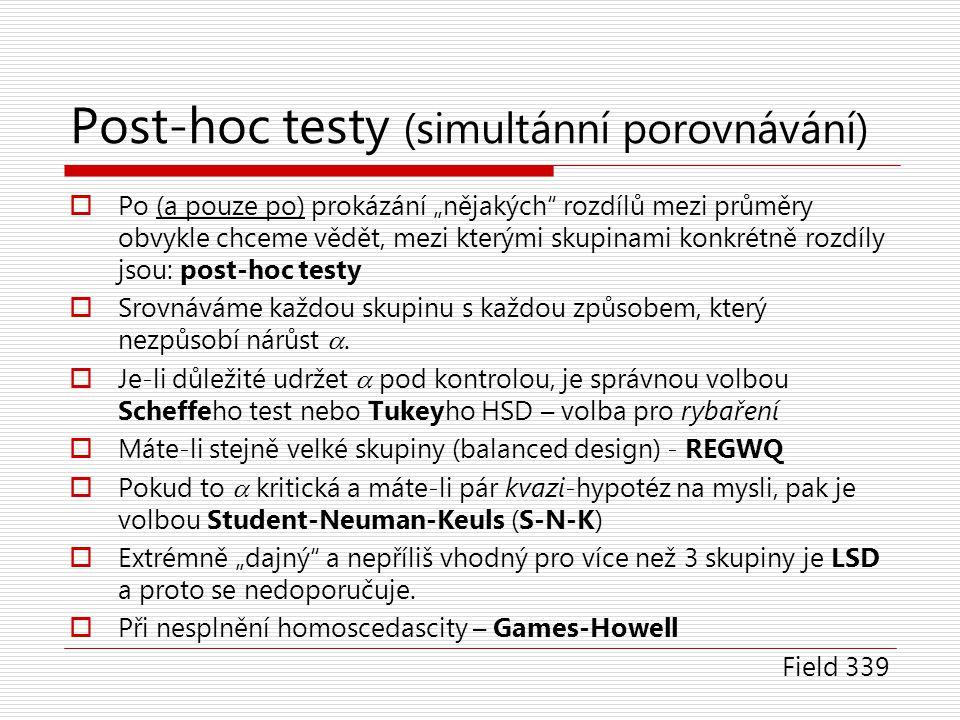 Post-hoc testy (simultánní porovnávání)