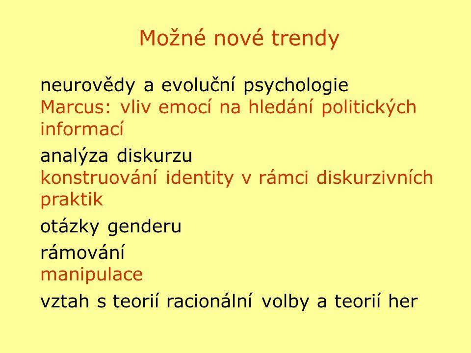 Možné nové trendy neurovědy a evoluční psychologie Marcus: vliv emocí na hledání politických informací.