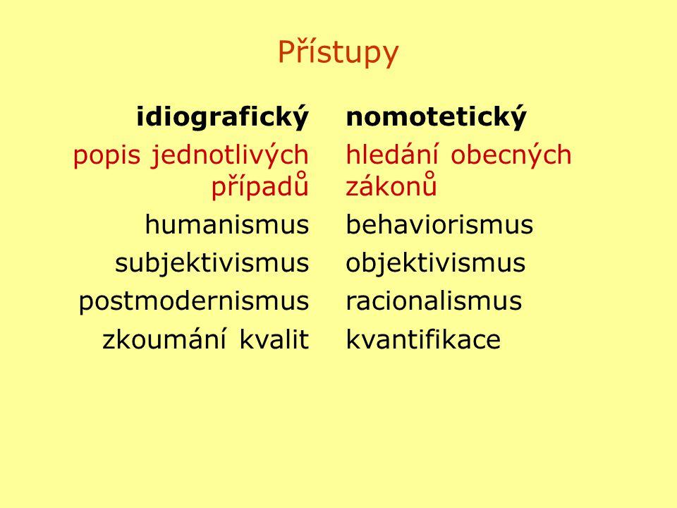 Přístupy idiografický popis jednotlivých případů humanismus
