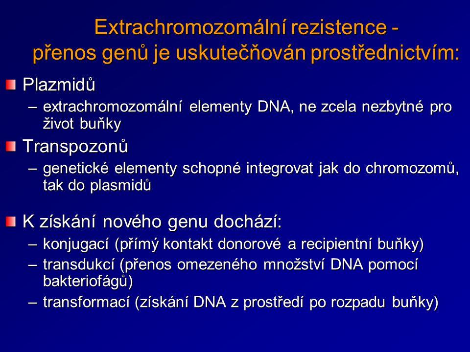 Extrachromozomální rezistence - přenos genů je uskutečňován prostřednictvím: