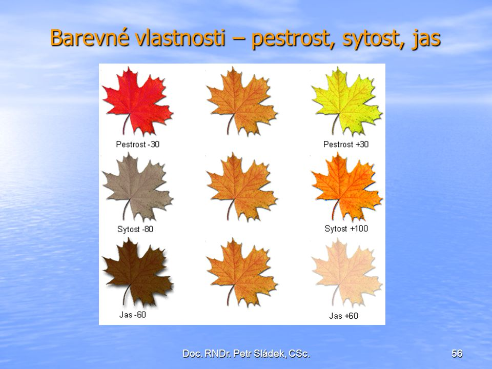 Barevné vlastnosti – pestrost, sytost, jas