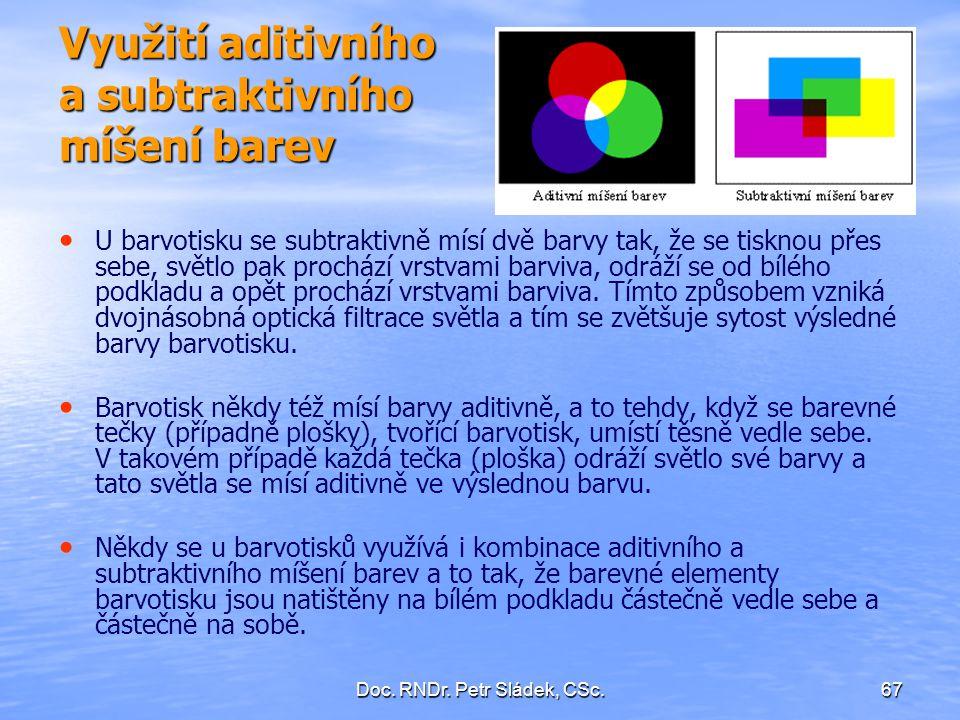 Využití aditivního a subtraktivního míšení barev