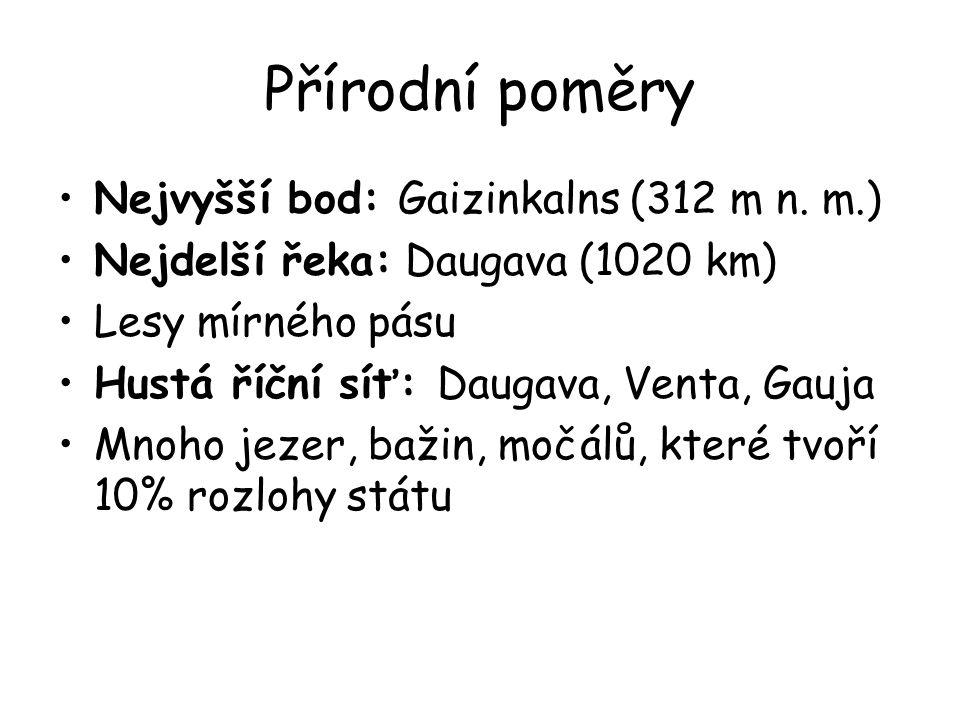 Přírodní poměry Nejvyšší bod: Gaizinkalns (312 m n. m.)