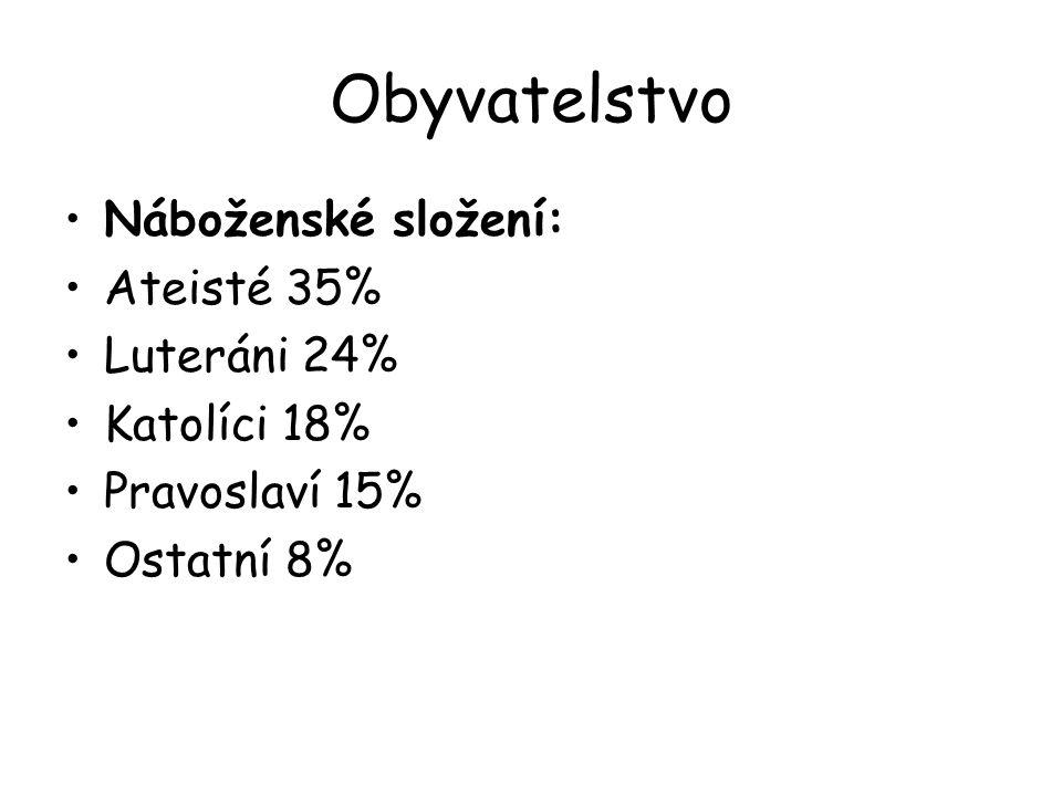 Obyvatelstvo Náboženské složení: Ateisté 35% Luteráni 24% Katolíci 18%