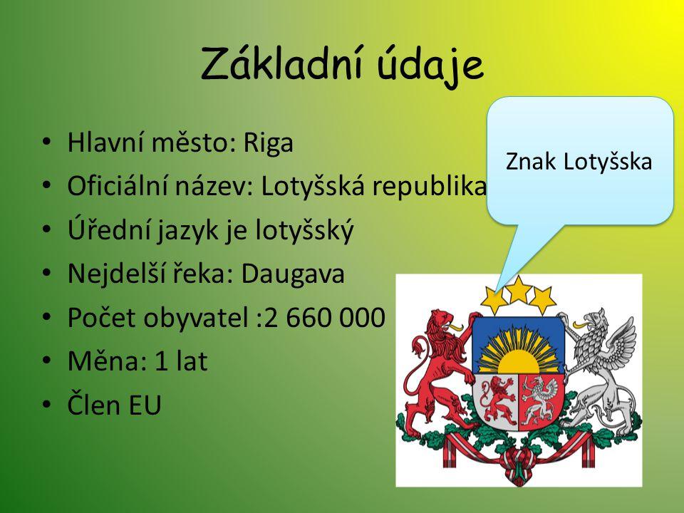 Základní údaje Hlavní město: Riga Oficiální název: Lotyšská republika