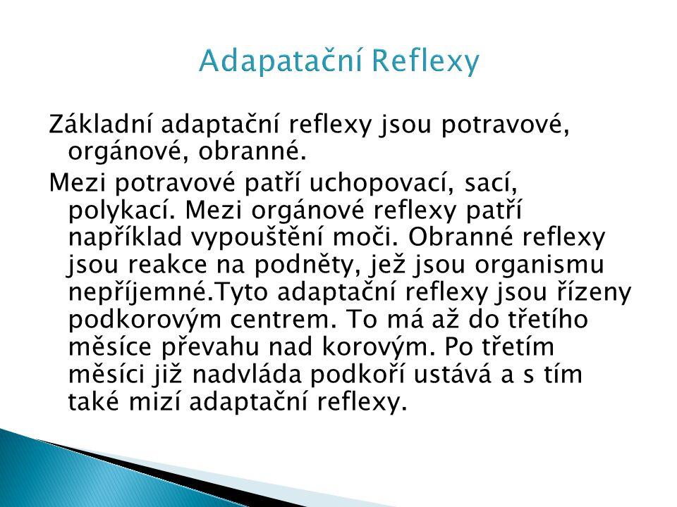 Adapatační Reflexy Základní adaptační reflexy jsou potravové, orgánové, obranné.