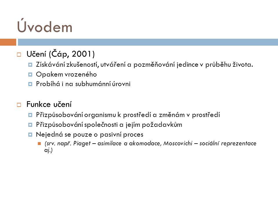 Úvodem Učení (Čáp, 2001) Funkce učení