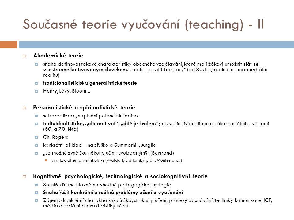 Současné teorie vyučování (teaching) - II
