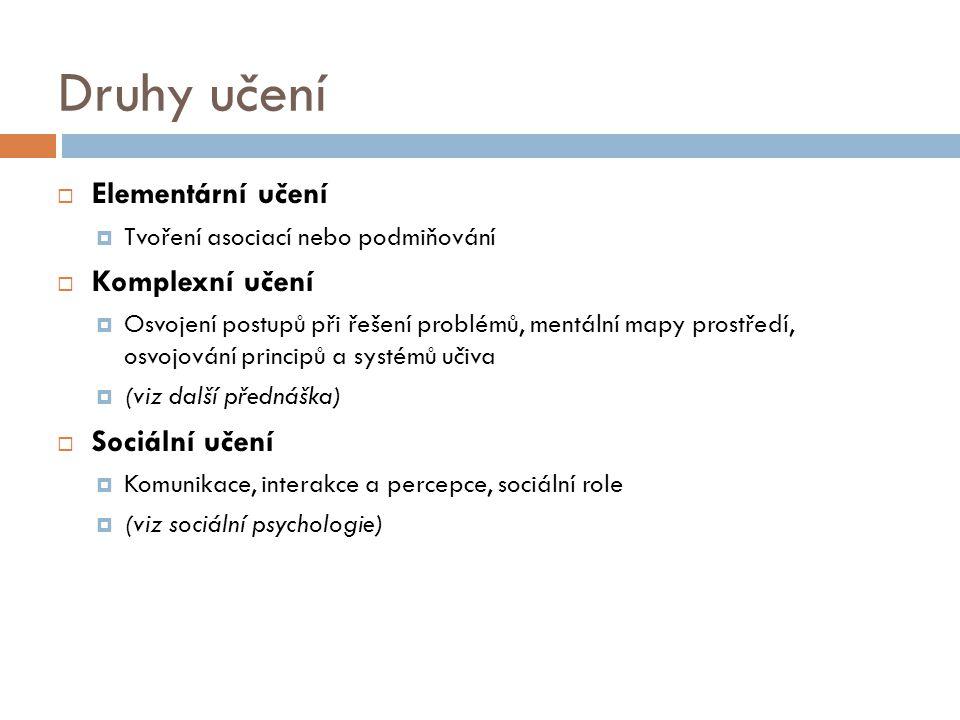 Druhy učení Elementární učení Komplexní učení Sociální učení