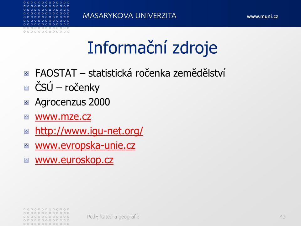 Informační zdroje FAOSTAT – statistická ročenka zemědělství