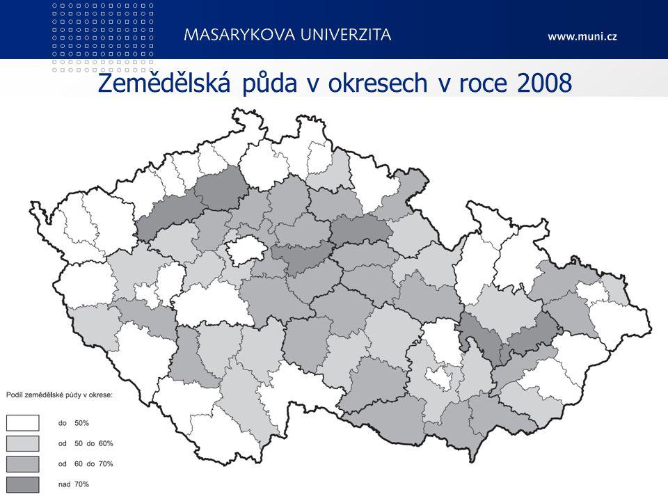 Zemědělská půda v okresech v roce 2008