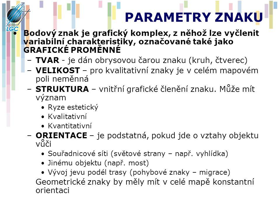 PARAMETRY ZNAKU Bodový znak je grafický komplex, z něhož lze vyčlenit variabilní charakteristiky, označované také jako GRAFICKÉ PROMĚNNÉ.