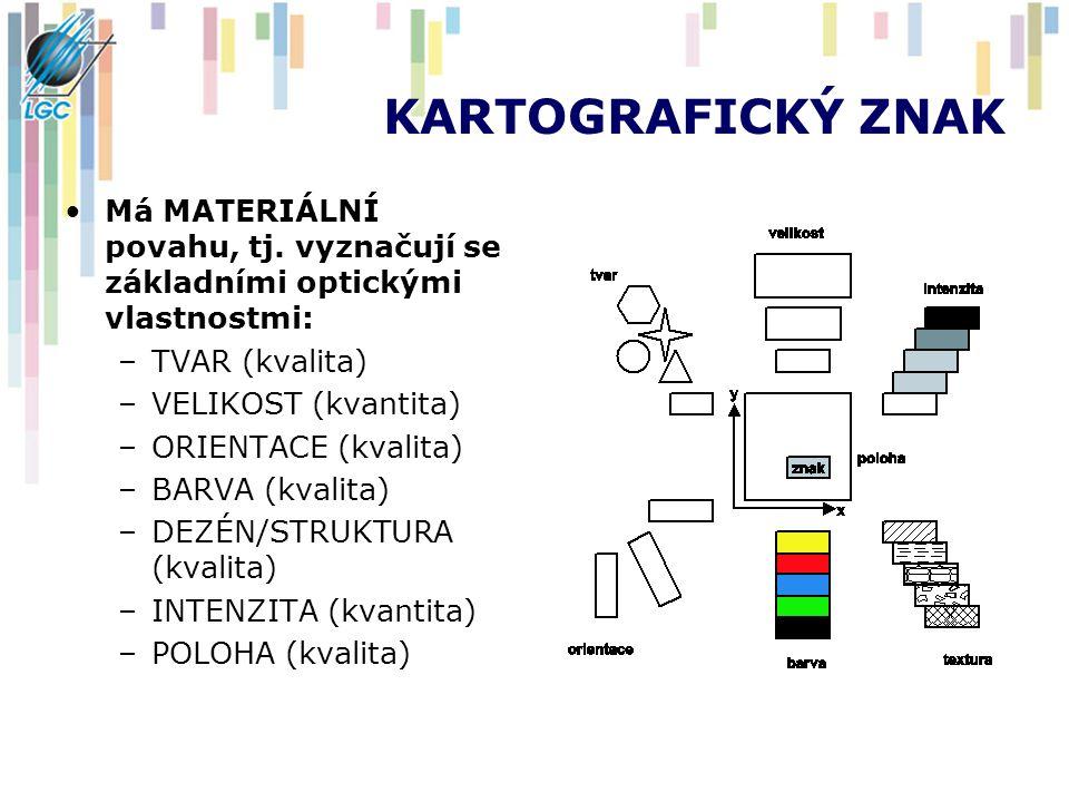 KARTOGRAFICKÝ ZNAK Má MATERIÁLNÍ povahu, tj. vyznačují se základními optickými vlastnostmi: TVAR (kvalita)