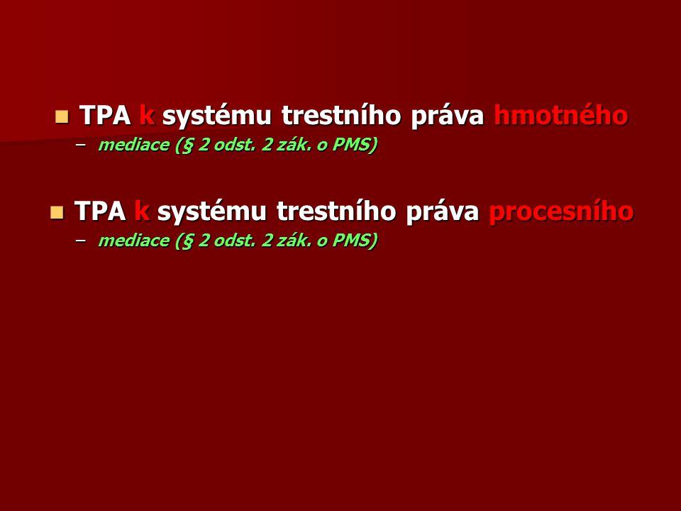 TPA k systému trestního práva hmotného