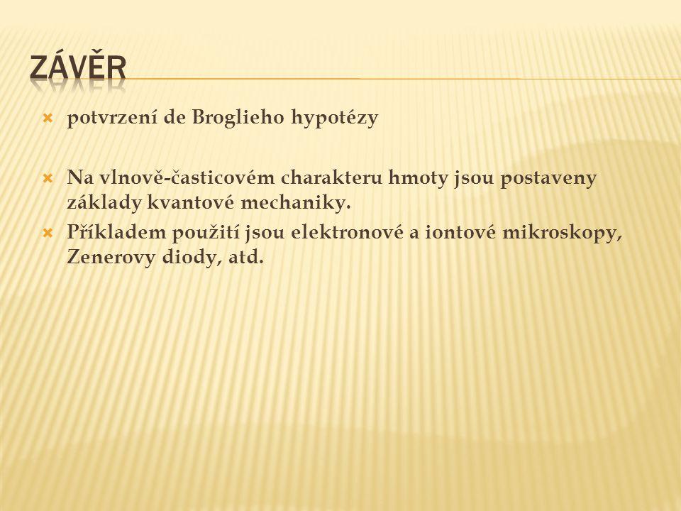 Závěr potvrzení de Broglieho hypotézy