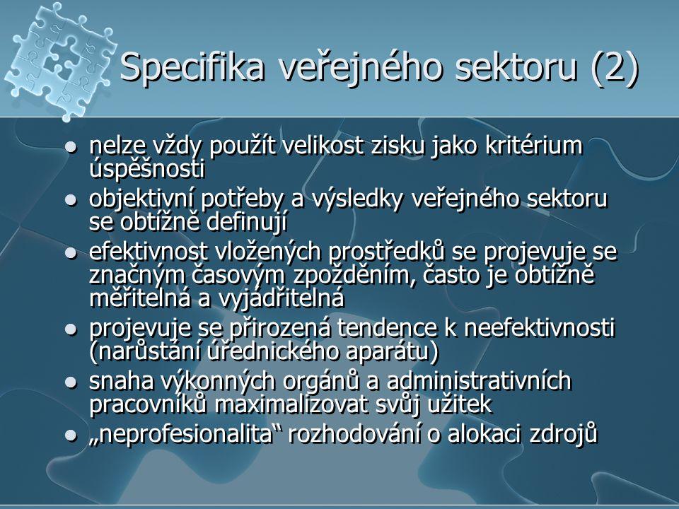 Specifika veřejného sektoru (2)